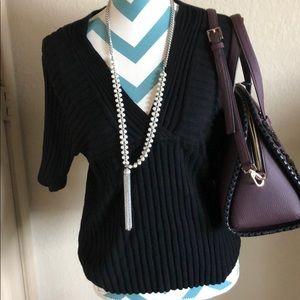 Black V-Neck Sweater Size  XL